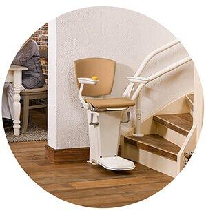 Monte escaliers avec un système de double rail à l'extérieur des escaliers